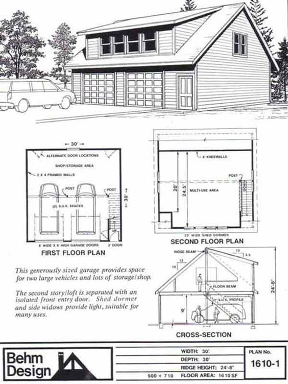 Two car garage with shed roof loft plan 1610 1 30 39 x 30 for Barn shed with loft plans