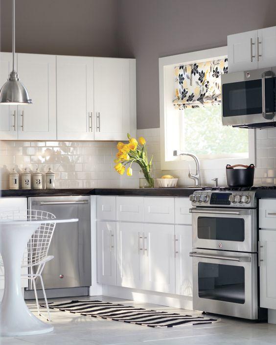 White Cabinets Subway Tile Gray Walls Perfection Kitchen Storage Organization