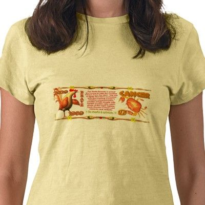 ValxArt Zodiac Earth Rooster born Cancer 1969 Tee Shirts by valxart for $24.55on Ladies Petite T-Shirt  Tailored for women. Made from 5 oz, 100% super-soft cotton with contoured fit  is one of 720  designs for 60 years of Chinese zodiac combined with 12 zodiac designs and forecast ,each used on several products . Valxart has designs on 12 zodiac cusp and 60 years of chinese zodiac designs. If you do not see desired year and zodiac sign contact Valxart at info@valx.us for links to desired…