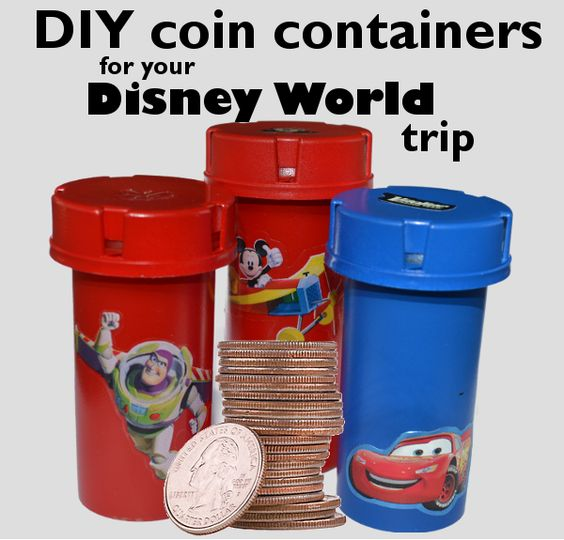 Painted medicine bottles = cute coin containers for Disney World pressed coins.