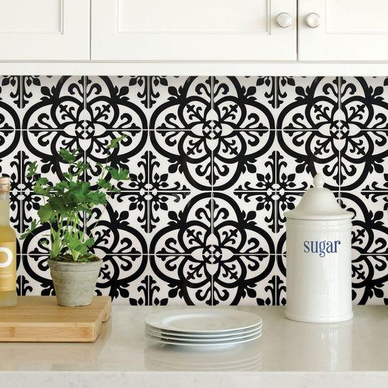 "Avignon 10"" x 10"" Peel & Stick Mosaic Tile in Black and White"