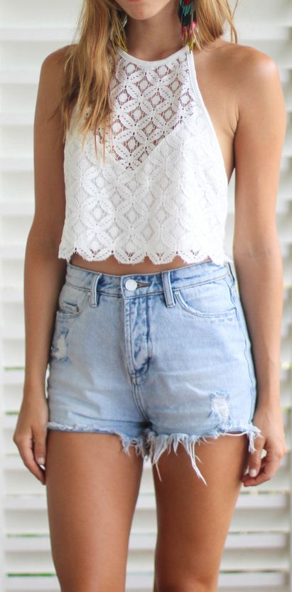 Casual look   Lace crop top and high waist denim shorts