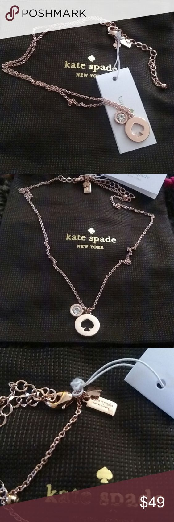 "Kate Spade ""Spot The Spade"" Rose Gold"" Necklace NWT Kate Spade New York ""Spot The Spade"" necklace with a Spade cut out pendant and one crystal pendant. 14k Rose Gold plated. Pendant 0.5""(L) X 0.5""(H) X 0.1""(D). Necklace 16.5""(L)  X 0.1""(W) is adjustable. Kate Spade pouch is included. Fast shipping! Kate Spade Jewelry Necklaces"