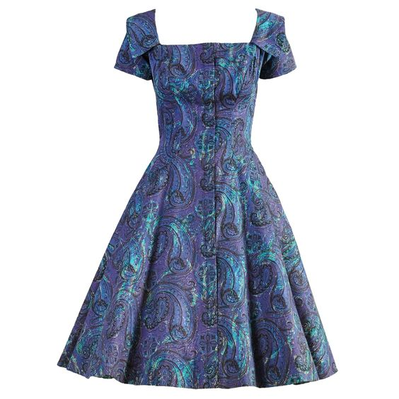 Estevez for Grenelle 1950s Paisley Print Party Dress | From a collection of rare vintage day dresses at https://www.1stdibs.com/fashion/clothing/day-dresses/