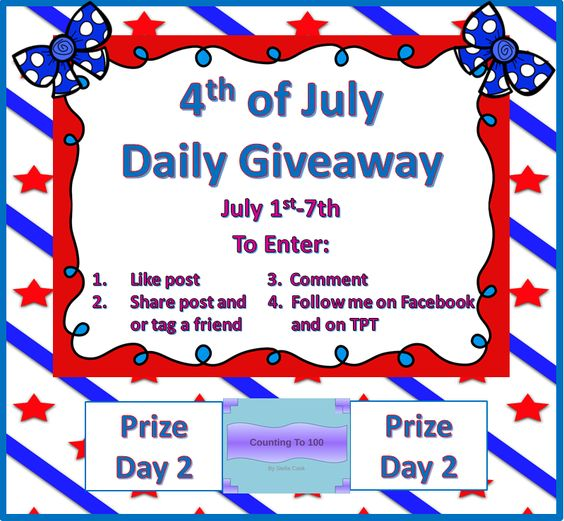 Day 2 prize is a Counting PowerPoint.  #4thOfJuly #Giveaway July 1st-7th. Follow the directions below to enter. Winner will be selected around 9:00 p.m. EST tonight. Make sure when you comment to include your email. New prize each day of giveaway with a winner selected each night. Make sure you comment on the post on the My Kinder Garden Facebook page: https://www.facebook.com/Mykindergardenclass. Here is the link to follow me on TPT: http://www.teacherspayteachers.com/Store/My-Kinder-Garden