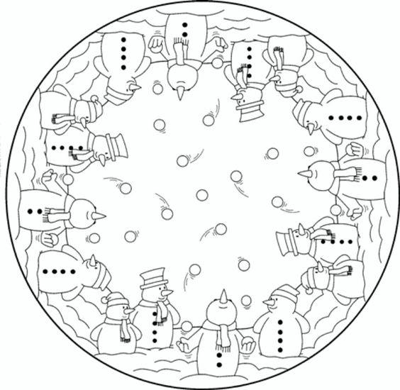 Mandala snowmen christmas coloring pages colouring adult detailed advanced printable kleuren - Mandala adulte ...