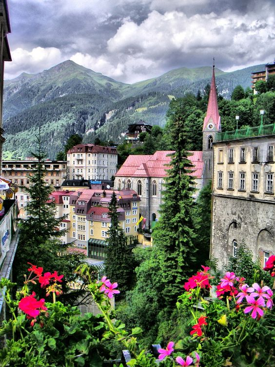 The pink roofs and flowers of Gastein, Austria