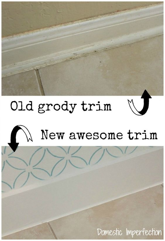 Replacing Bathroom Floor Trim : Simple bathroom stencil and floor trim on