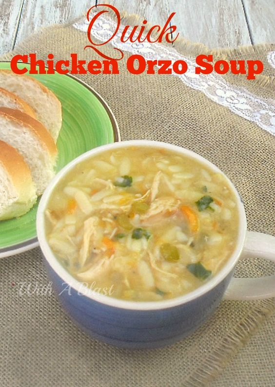 Quick Chicken Orzo Soup ~ Delicious, thick, filling and warming Chicken Soup ~ super quick to make  www.WithABlast.net