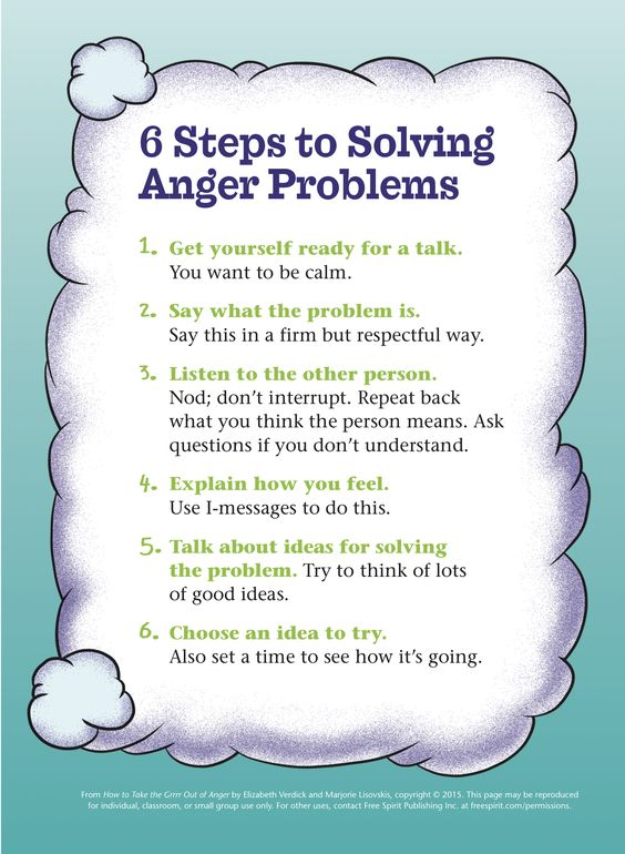 Free printable for teachers, counselors, and parents on anger management and conflict resolution: 6 Steps to Solving Anger Problems:
