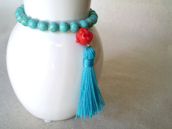Turquoise blue magnesite stretch bracelet with Happy by MyleneV, $10.00