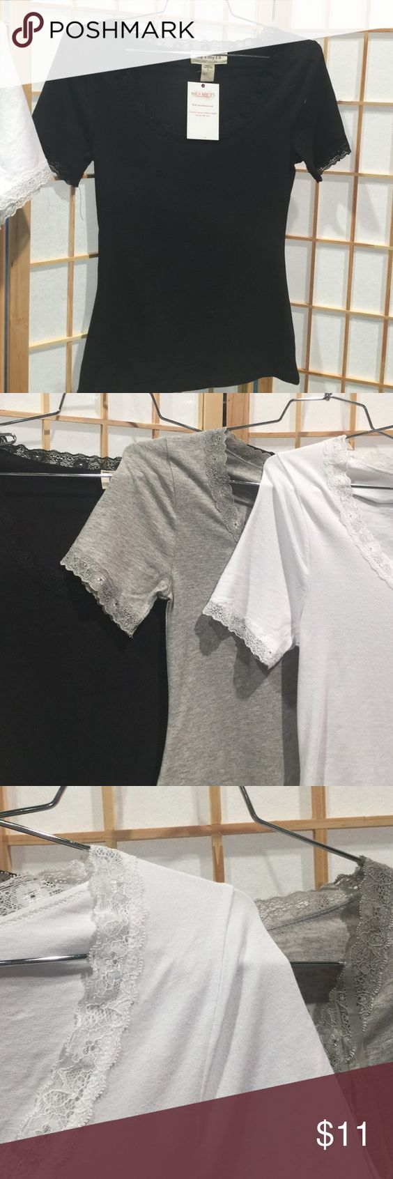 Ct-4267 Lace Trim Short Sleeve Tee Short Sleeve lace trim scoop neck tee. Available in white, black and heather grey. Me & My T's Tops Tees - Short Sleeve