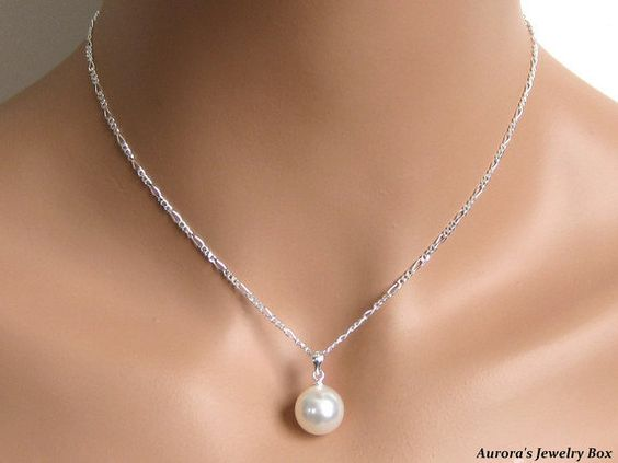 Bridal Pearl Pendant, Bridal Jewelry, Simple White Pearl Drop Necklace, Wedding Jewelry, Bridesmaids Jewelry, Wedding Pendant - Helena. $38.00, via Etsy.: