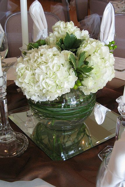 Centerpiece green hydrangea white berries by anderson