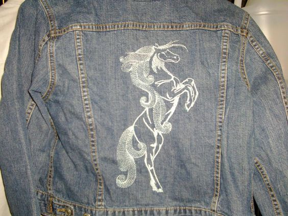 Jeans jacket with horse free embroidery design