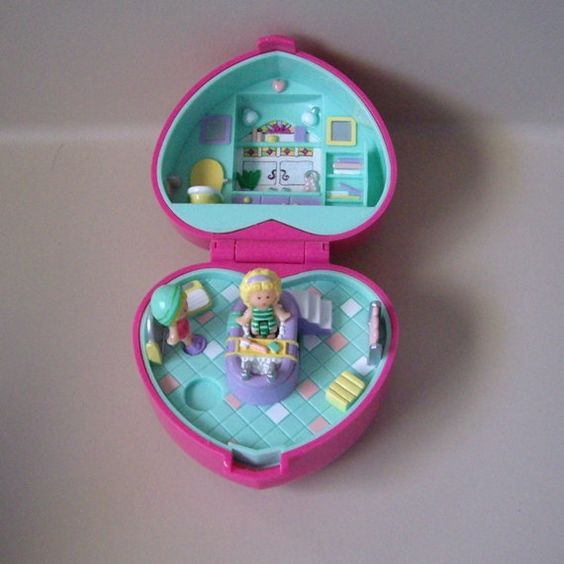 Vintage Polly Pocket Bath Time Case with bathtub. Vintage 80's - 90's