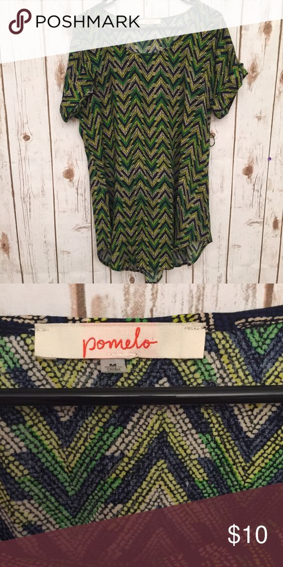 """Pomelo Funky Printed shirt dress Fun little hi Lo dress measuring 31"""" from neck to longest hemline. In great used condition. Would look awesome with some navy tights and a big chunky belt. Pomelo Dresses"""