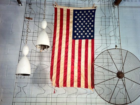 Canvas embroidered vintage American Flag by PositiveSpaceDesigns, $120.00