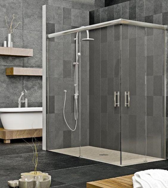 Mampara de ducha de dise o cristal templado y perfiles inox ba o ducha aluminio cristal - Mamparas de pvc ...