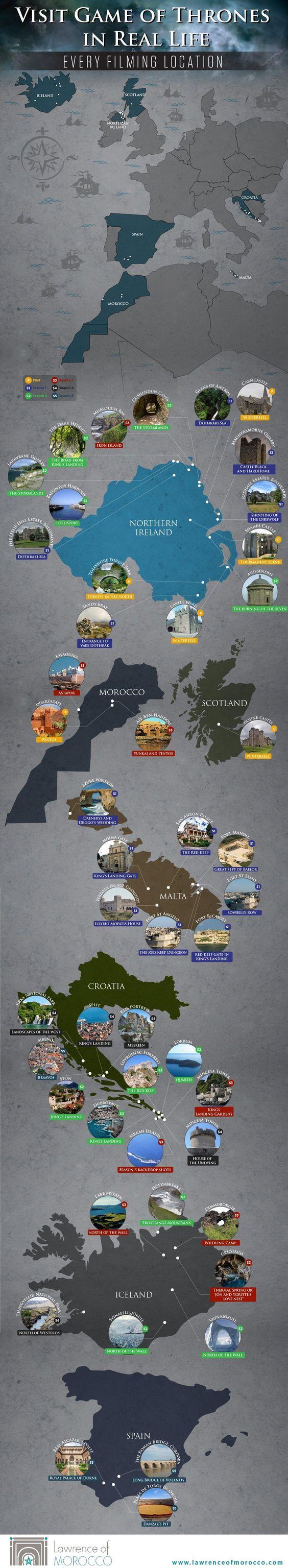 La carte des lieux où a été filmé Game of thrones   Une carte du monde.