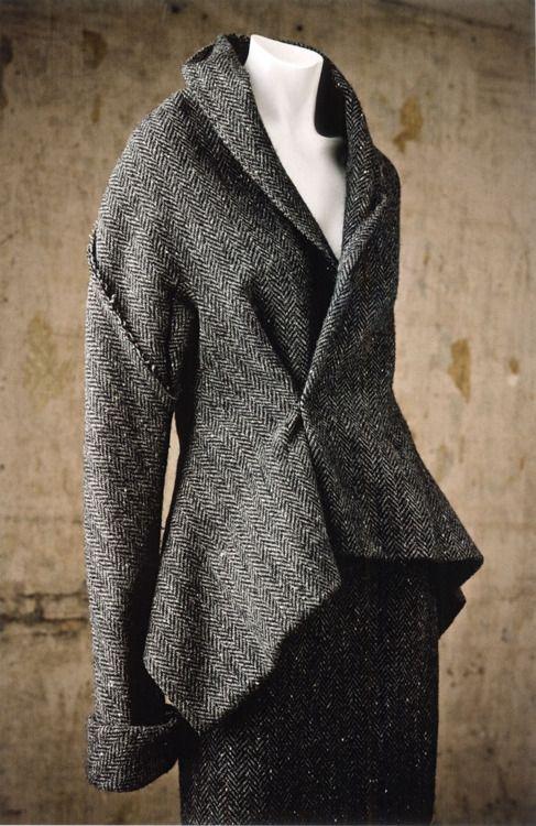 Yohji Yamamoto, gray wool tweed suit, Fall–Winter 1997–1998.