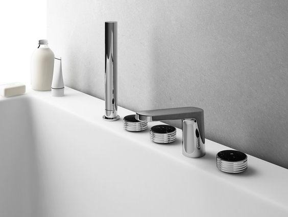 Badewannenarmatur mit Brausekopf Kollektion Texture by FIMA Carlo Frattini | Design MENEGHELLO PAOLELLI ASSOCIATI