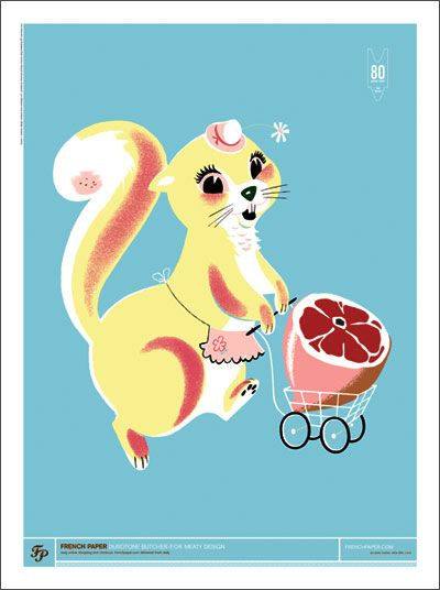 A squirrel in an apron buying a ham. Was this made for me or what?