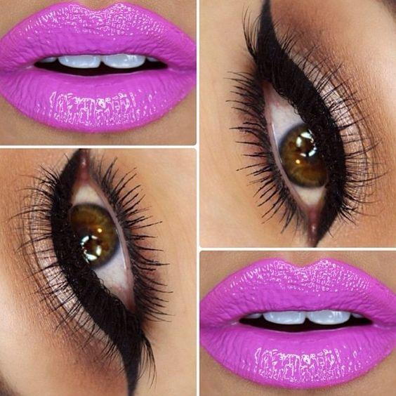 "What perfect combo by that amazing @jennivae  @anastasiabeverlyhills ""Orchid"" lipgloss   @blinkingbeaute No. 8 lashes  @nyxcosmetics matte liquid liner #blinkingbeaute"