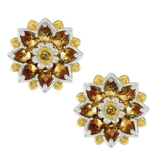 One-of-a-kind Michael Valitutti Palladium Silver Citrine Flower Earrings with Omega Back