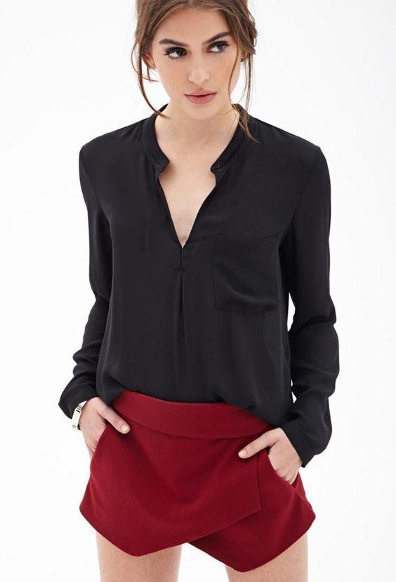 Boxy Chiffon Pocket Blouse http://picvpic.com/women-tops-blouses-shirts/boxy-chiffon-pocket-blouse#Black