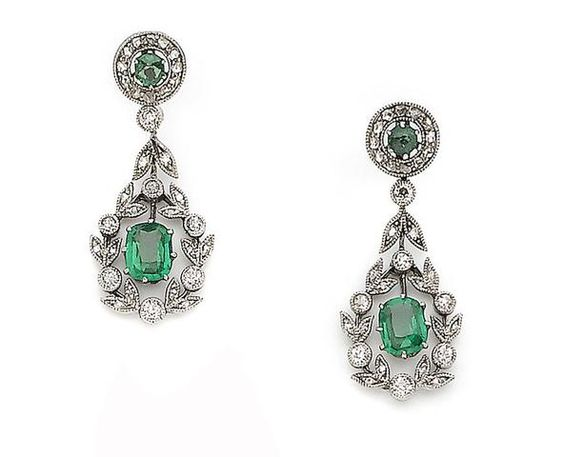 A pair of belle époque paste and diamond earrings, c. 1900