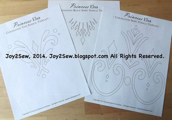 Elsa frozen coronation dress and vest stencil templates by joy2sew, $3.50
