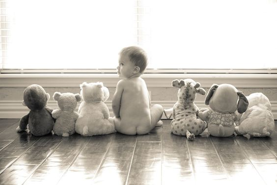 """This is a good photo to try when your baby is around 6months+. They are able to sit fairly well on their own. Black and white adds a vintage touch that really """"makes"""" this photo"""