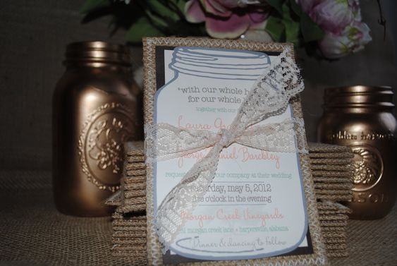 Burlap and Lace Invitations (RSVP postcard & outer envelope included). $5.50, via Etsy.