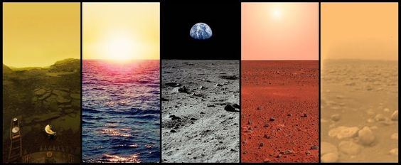 The horizons of Venus, Earth, Earth's Mon, Mars and Titan.