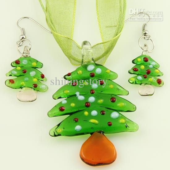 Wholesale Christmas murano lampwork blown venetian glass necklaces pendants and earrings jewelry sets, Free shipping, $21.72-27.19/Dozen | DHgate