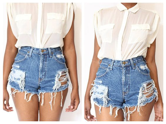Destroyed Ripped Distress Custom Made High Waist Shorts | Urban ...