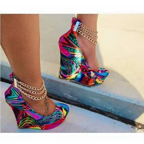 Colorful kaleidoscope wedge heel with ankle chains. #cute ...