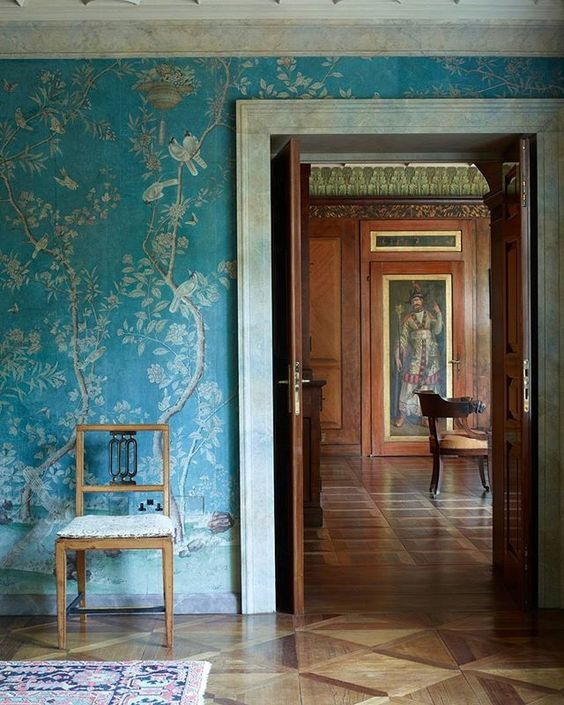 Beautiful wallpaper and millwork