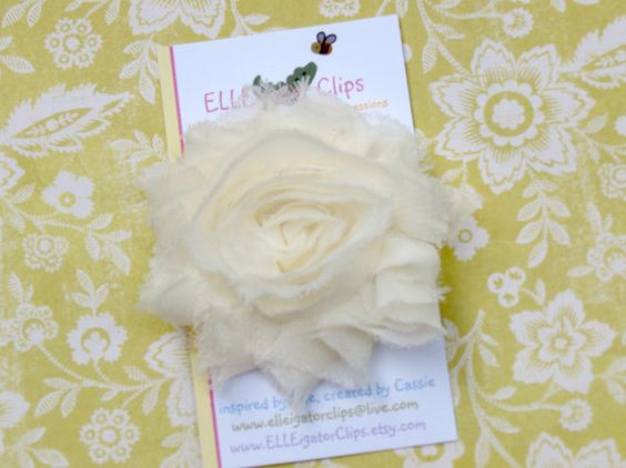 Ivory+Chiffon+Flower+Hair+Clip++Shabby+Rose++by+ELLEigatorClips
