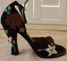 Dolce&Gabbana Heels Suede Sz 35.5 US 5.5 M Black Multi Floral Made In Italy