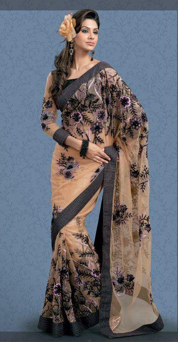 Крем #Designer Черный #Saree: