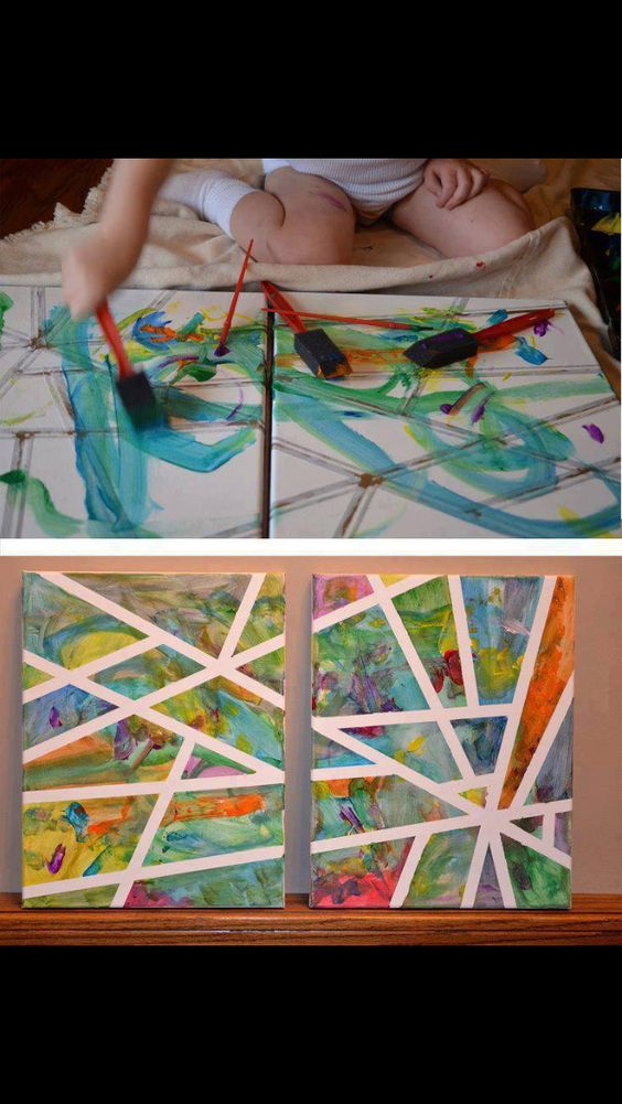 DIY Art Project..Put some tape on a board and let the kids have it :)
