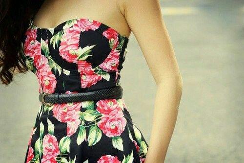 Pink rose-floral black strapless dress