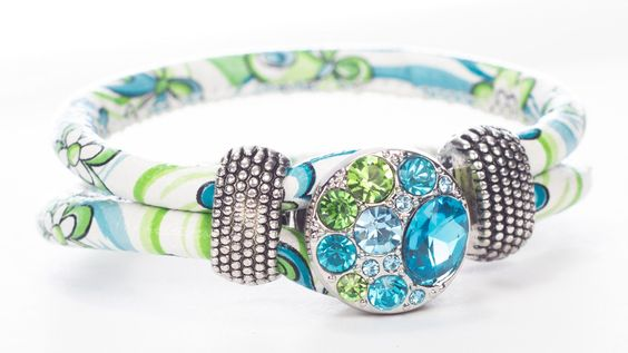 Cloth Floral Bracelet with Blue and Green Crystal