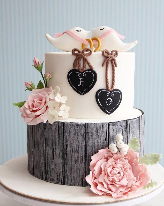 Rustic engagement Cake / cupcake / Cookies  by asli - http://cakesdecor.com/cakes/246223-rustic-engagement-cake-cupcake-cookies