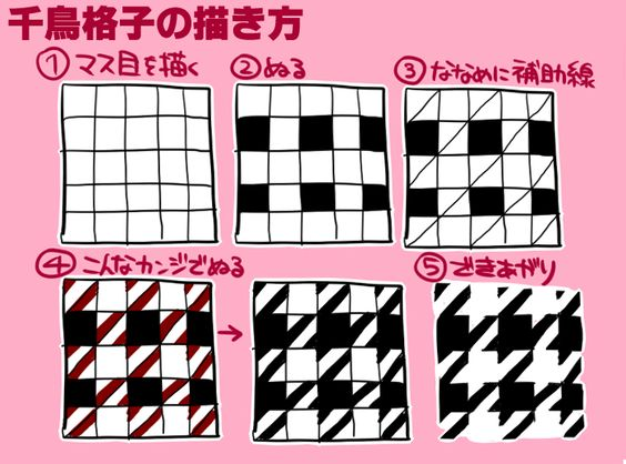how to draw houndstooth step by step