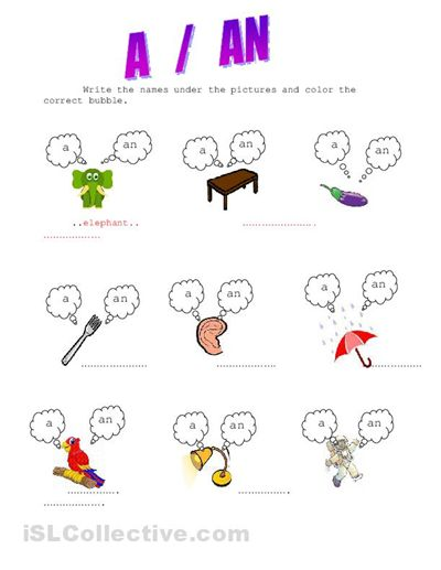 articles a an exercises for kids | colores | Pinterest | Exercise ...