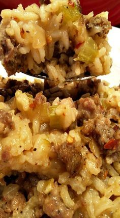 Sausage and Rice Casserole ~ Recipe from an old Paula Deen cookbook
