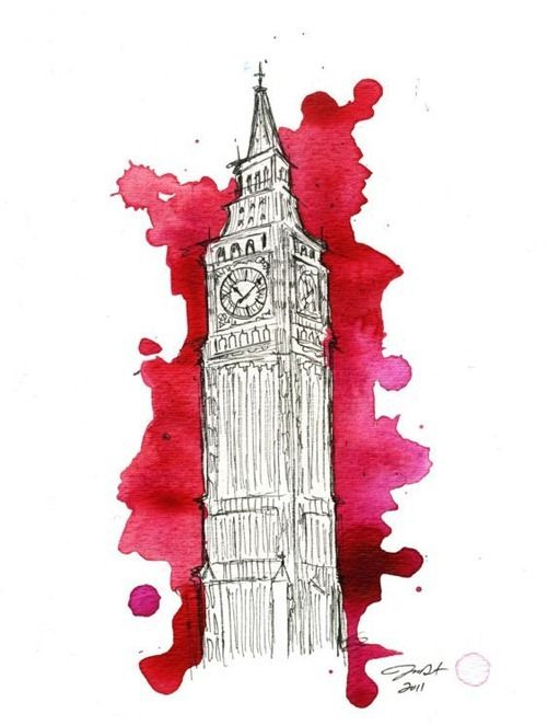 Architectural watercolors. I love the look of this!